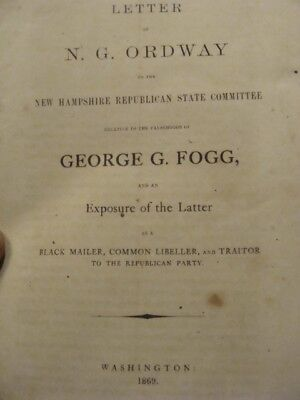 Original N G ORDWAY to New Hampshire REPUBLICAN State Commitee --1869-- booklet