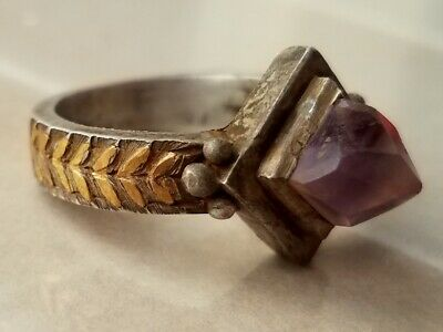 Massive Byzantine Silver and Gold Ring,Natural Amethyst stone 12-15century 21mm