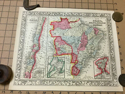 VINTAGE hand colored MAP: 1860 BRAZIL, BOLIVIA PARAGUAY URUGUAY -mitchell map-
