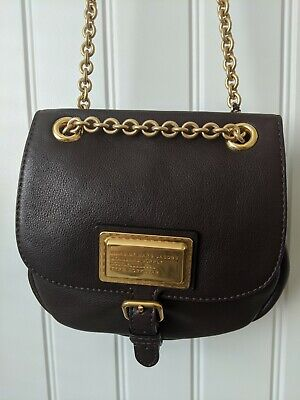 Marc by Marc Jacobs Workwear Solid Carob Brown Leather Crossbody Bag Purse $378