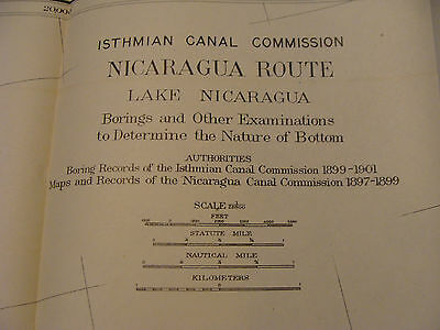 Early 1900's Original chart ISTHMIAN CANAL: Nicaragua Route, plate 63 LAKE