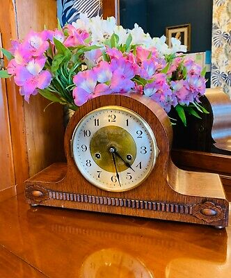 1930's Oak cased 8 day chiming mantel clock by HAC of Wurttemburg Germany