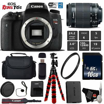 Canon EOS Rebel T6S DSLR Camera with 18-55mm is STM Lens + Flexible Tripod +...