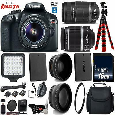 Canon EOS Rebel T6 DSLR Camera with 18-55mm is Lens & 55-250mm is II Lens +...