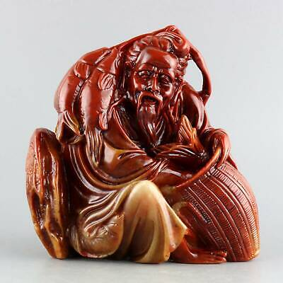 Collect Shoushan Stone Hand-Carved Old fisherman & Fish Delicate Decor Statue