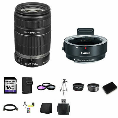 Canon EF-S 55-250mm Lens w/EF-M Adapter For EF/EF-S Lenses 16GB Package