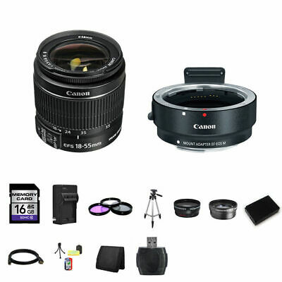 Canon EF-S 18-55mm Lens w/EF-M Adapter For EF/EF-S Lenses 16GB Package