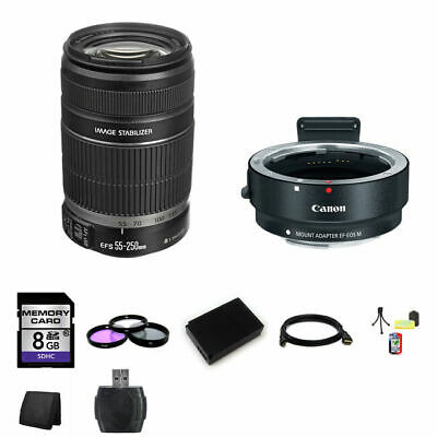 Canon EF-S 55-250mm Lens w/EF-M Adapter For EF/EF-S Lenses 8GB Package