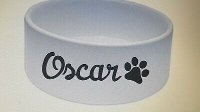 Personalised Name sticker label Dog bowl Cat Mrs Hinch Pet treats ANY COLOUR