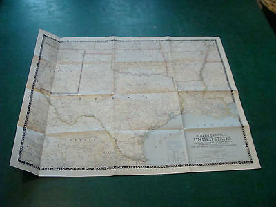 """Original NATIONAL GEOGRAPHIC MAP:  1947 SOUTH CENTRAL UNITED STATES 24 x 29 1/2"""""""