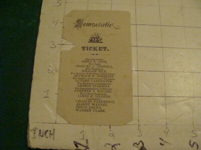 Vintage Original 1800's DEMOCRATIC TICKET i am not sure of the town this is from