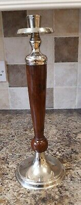 Silver Tone And Polished Turned Walnut Candlestick Art Deco Style