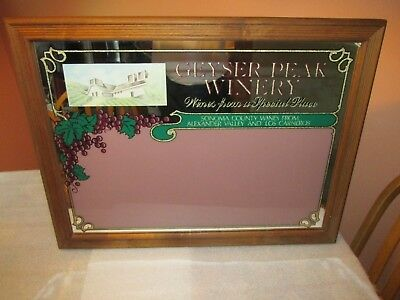 """Geyser Peak Winery Mirror Sign Man cave BAR VINTAGE """"Wines from a special place"""""""