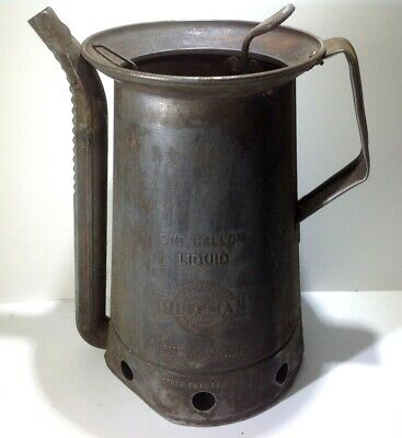 Old VINTAGE 1 GALLON HUFFMAN Oiler Oil Can Swingspout Gas Station Railroad RR