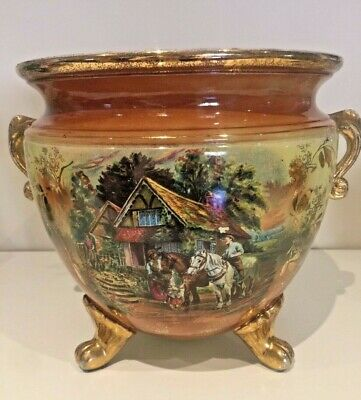 Large Antique English China Jardiniere With Painted Farmhouse Horse Scene
