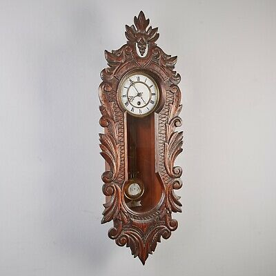Wall Clock Regulator with Carved Front Plate Pendulum Clock Antique 1.EH