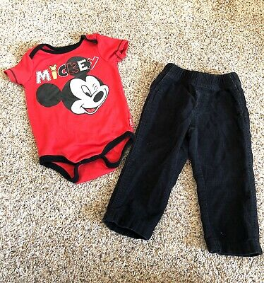 Disney Mickey Mouse 12 Months Outfit Baby Boy Infant Bodysuit & Pants
