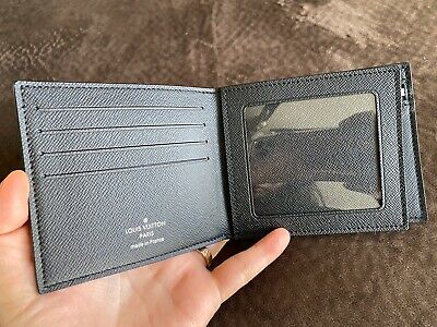100% Authentic Louis Vuitton AMERIGO Wallet, Black Taiga Leather