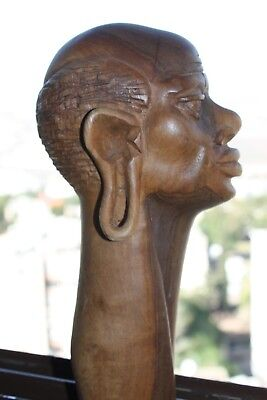 """Hand Carved Wooden Old African Man Tribal Male Head Figurine Sculpture 9"""" Decor"""