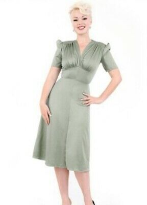 Heyday Mary Dress Vintage 1940s 1930s Art Deco Style Pale Green 12 - 14