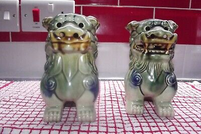 "Vintage Pair of Chinese Green Glazed 5 ""  Foo Dog Statues"