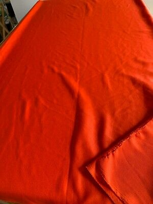 2.75 Metres Of Bright Orange Satin Back Crepe Fabric