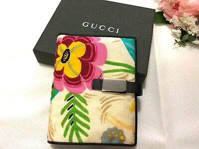 Authentic GUCCI Agenda Journal Diary 6 Ring Cover In Signature Flowers - W/ Box