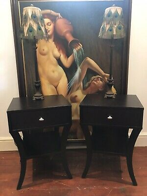 Matching Pair Of Art Deco Style Sabre Leg Bedside Cabinets In Ebony