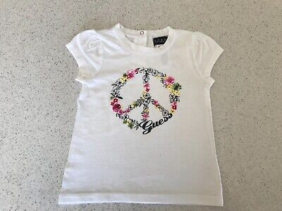 GUESS toddler baby  girls t-shirt top with floral peace sign size 24months