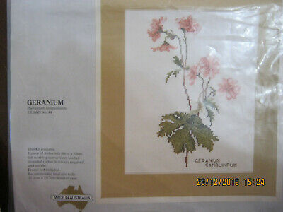 Cross Stitch Pattern For Geraniums By Semco Colour Photo And Chart Only