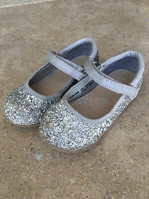 Girls Next Silver Glitter Party Shoes Size 7