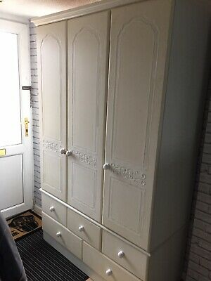 Triple Wardrobe With Drawers White Solid Heavy big  wooden  Good Condition