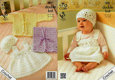 "Original Crochet Pattern Baby Outfit Jacket /& Hat 12/""-22/"" DK King Cole 3477"
