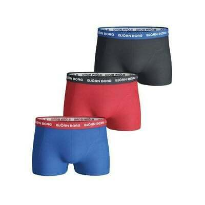 Bjorn Borg Men's Cotton Stretch Boxer Shorts 3 Pack Xl Red Mix New Rrp £36.99
