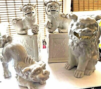 """LOT 4 White Blanc de Chine Porcelain Foo Temple Dogs Detail carved marked 8"""""""