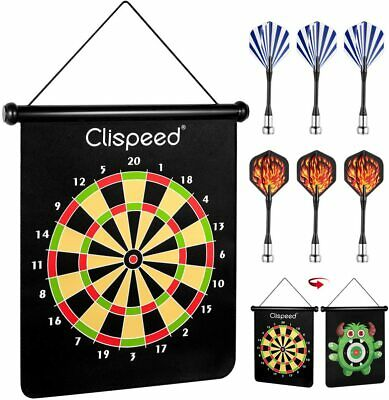 Magnetic Dart Board Game Set Reversible Rollup Dartboard with 6 Safe Darts