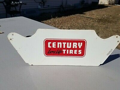 Vtg Century Long Life Tires Display Rack Store Advertising Sign Service Station