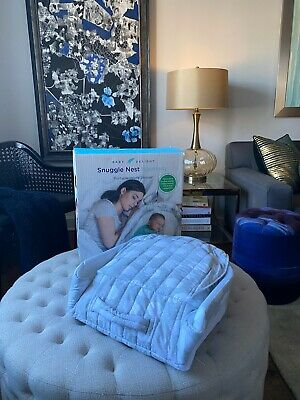 Baby Delight Snuggle Nest Harmony Infant Sleeper | Silver Clouds Fabric Pattern