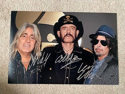 BID NOW! Hand Signed Motörhead Picture By Lemmy, Phil Campbell & Mikkey Dee