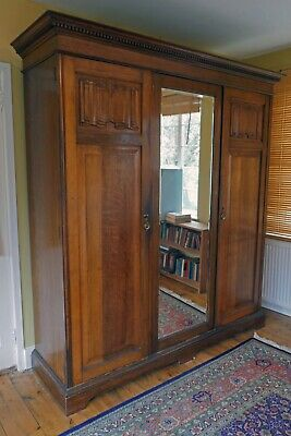 Superb Edwardian Solid Oak Compactum Triple Armoire Wardrobe Beveled Mirror.