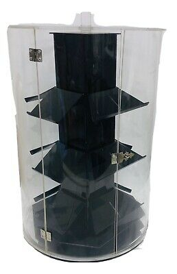 "Cylinder Acrylic Jewelry Retail Display Case Counter Top Spinner  17"" Tall"