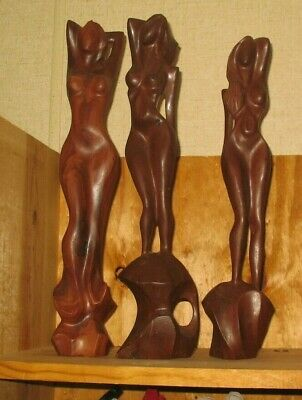 """3 Hand Carved Wooden Nude Female Figurines/Statues--17""""s tall"""