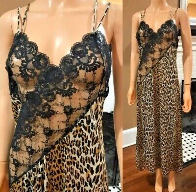 Vintage Fredricks Of Hollywood Leopard Print And Lace Long  Slip
