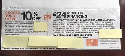 Home Depot coupon 10% Off or up to 24 Month No Interest Online In Store exp 4/15