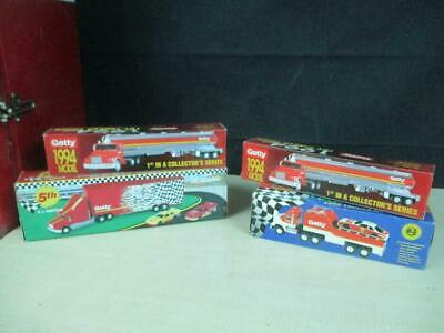 (4) Getty Oil Toy Trucks Gas Station Oil Premiums Promo Mib Lot Nice!