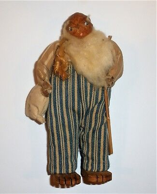 Vintage Hand Carved Hillbilly Doll Fully Clothed w/ Pecan Head