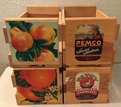 WestAmerica Woodworks Vtg 4 CD Storage Crates 23 Capacity Wooden Produce Boxes