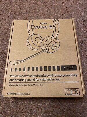 New Jabra Evolve 65 Wireless Bluetooth Stereo Headset for PC/Laptop/Smartphone