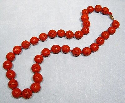 "Vintage Cinnabar 35 Rd 16mm Asian Carved Red Chinese Flower Beads 26"" Necklace"