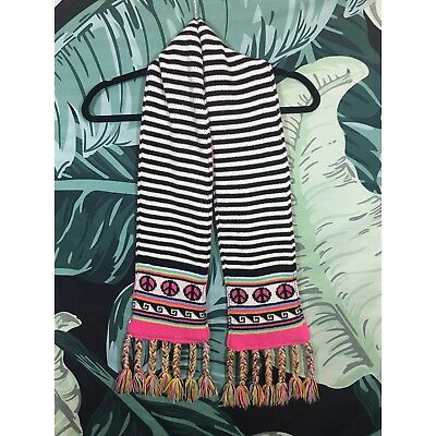The Children's Place Girls Black White Striped Pink Peace Sign Hippie Boho Scarf